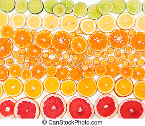 fruit, citrus, achtergrond., bovenzijde, overzicht.