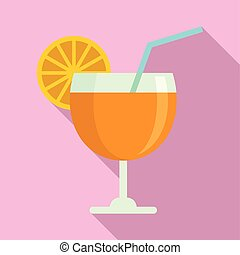 Fruit cocktail icon, flat style