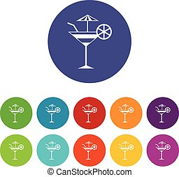Fruit cocktail set icons