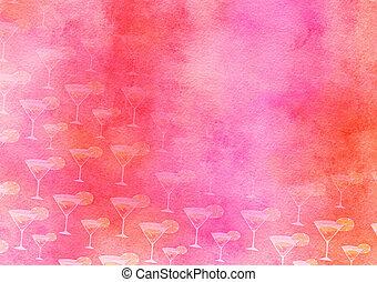 fruit cocktail, watercolour, feestje, papier