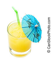 Fruit Cocktail with blue umbrella and piece of orange