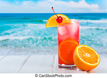 fruit cocktail with orange slice