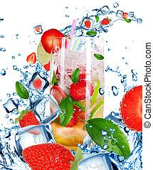 Fruit Cocktail with splashing liquid isolated on white