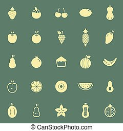 Fruit color icons on green background