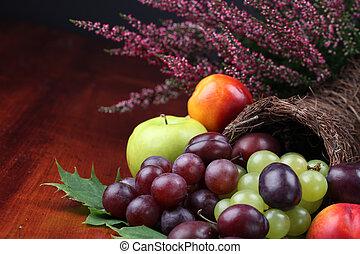 Fruit cornucopia - Cornucopia, symbol of food and abundance,...