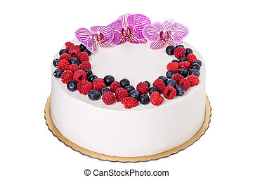 Fruit cream cake with flowers. For birthday.