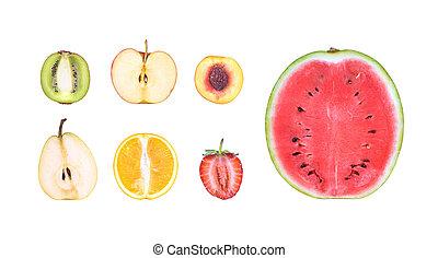 fruit cut isolated on white background