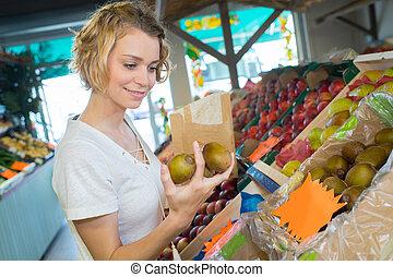 fruit, dame, aankoop