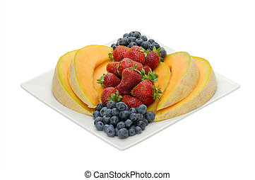 Fruit desert of berries and cantaloupe