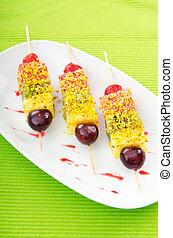 Fruit dessert in the plate