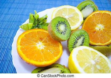Fruit dessert on a plate