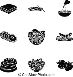 Fruit, dessert, sandwiches and other types of food. Food set collection icons in black style vector symbol stock illustration web.