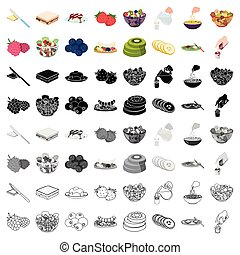 Fruit, dessert, sandwiches and other types of food. Food set collection icons in cartoon style vector symbol stock illustration web.