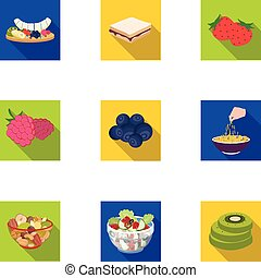 Fruit, dessert, sandwiches and other types of food. Food set collection icons in flat style vector symbol stock illustration web.