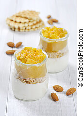Fruit dessert with mango