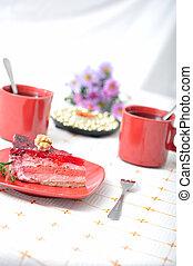 Fruit dessert with tea and napkin