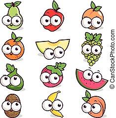 fruit, dessin animé, caractères