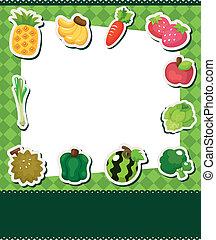 fruit, dessin animé, carte