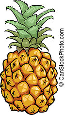fruit, dessin animé, illustration, ananas