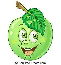 fruit, dessin animé, pomme