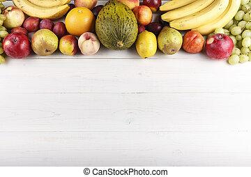 fruit detox background - fruit background with exotic fruits...
