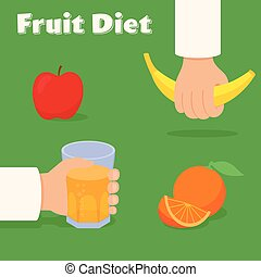 Fruit diet vector concept. Hands with banana and a glass of juice. Apple and orange.