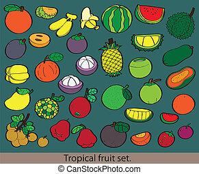fruit., différent, frais, groupe, grand