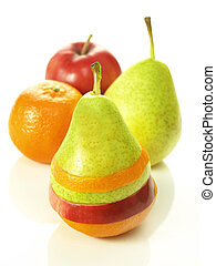 Fruit dressage - Pear dressed in pieces of different fruits...
