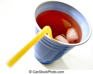 Focus on the drink/cubes, a blue cup with red fruit drink and yellow straw.