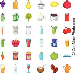 Fruit drink icons set, cartoon style