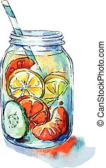 Fruit drink. Mason jar. Watercolor. Hand painted