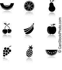 Fruit drop shadow black icons set