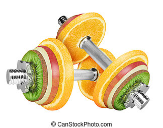 Fruit dumbbell isolated on white background. With clipping ...