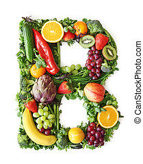 fruit, en, groente, alfabet