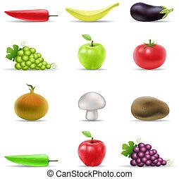 fruit, en, groente, iconen