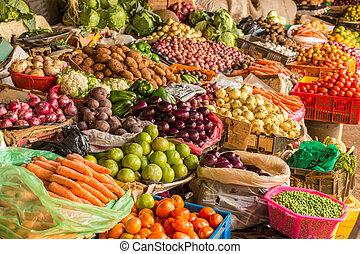 fruit, en, groente, markt