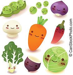 fruit, en, groente, verzameling