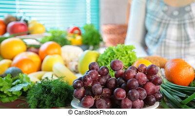 fruit en groenten, in, keuken