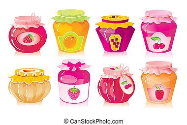 fruit, ensemble, baie, pots, confiture