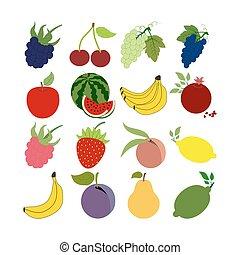 fruit, ensemble, icônes