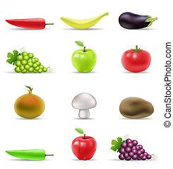 fruit, et, légume, icônes