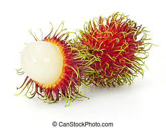 fruit, exotique, blanc, rambutan, fond