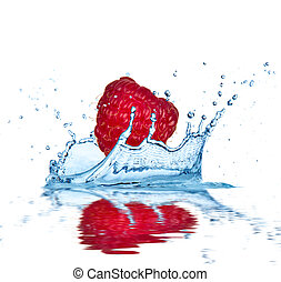 Fruit falling into water - Raspberry falling into water,...