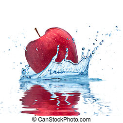 Fruit falling into water - Red apple falling into water,...