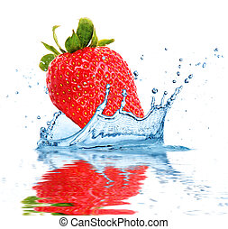 Fruit falling into water - Strawberry falling into water,...