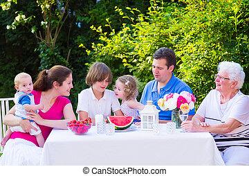 fruit, famille, jardin, manger