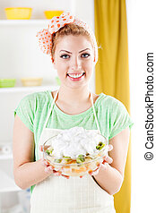 fruit, femme, jeune, salade