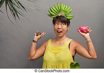 fruit, femme