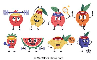 Fruit fitness characters. Doodle fruit mascots do sports, funny apple, lemon workout, healthy exercises and meditation isolated vector icons set