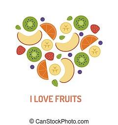 Fruit flat heart